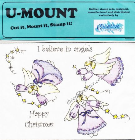 Christmas Angels & Greetings 6 Uncut & Unmounted Rubber Stamps